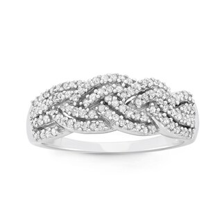 10K White Gold, 0.50 CT Diamond Criss Cross Braid Band (H-I, I1-I2)