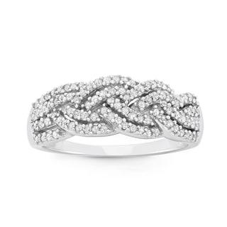 10K White Gold, 0.50 CT Diamond Criss Cross Braid Band