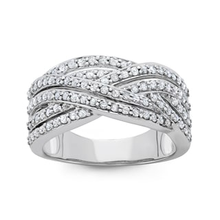 10K White Gold, 0.75 Cttw Diamond Criss-Cross Band