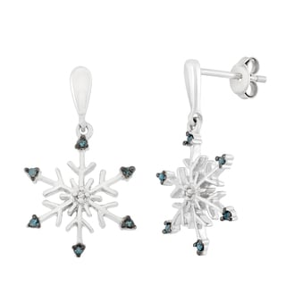 Sterling Silver 0.10Ct Blue and White Diamond Dangling Snowflake Earrings (H-I, I1-I2)