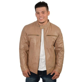 Men's Khaki Brown Leather Zip-front Jacket