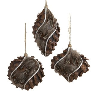 "Kurt Adler 3""-5.25"" Styrofoam Pinecone and Feather Ornament Set of 3"
