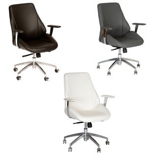 Armen Living Argo Contemporary Black Leatherette and Chrome High Back Swivel Office Chair