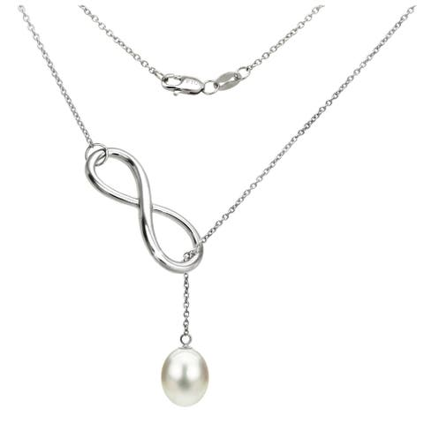 DaVonna Sterling Silver Freshwater Pearl Infinity Pendant Necklace (8-9mm) - White