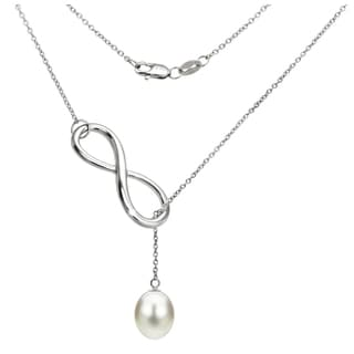 DaVonna Sterling Silver Freshwater Pearl Infinity Pendant Necklace (8-9mm)