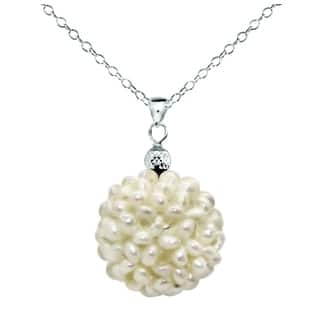 DaVonna Sterling Silver White Snowball Freshwater Pearl Pendant (18-19mm)|https://ak1.ostkcdn.com/images/products/10591956/P17665906.jpg?impolicy=medium