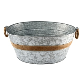 Cambridge Silversmiths Shiloh Galvenized and Rope Beverage Tub