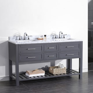 OVE Decors Pasadena 60-inch Double Sink Bathroom Vanity with Marble Top