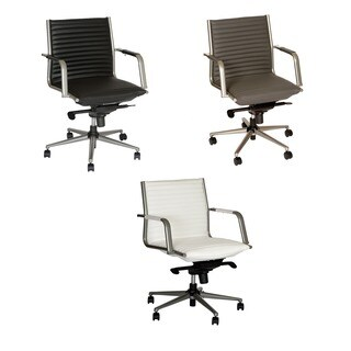 Armen Living Leo Modern Office Chair In Leatherette and Metal