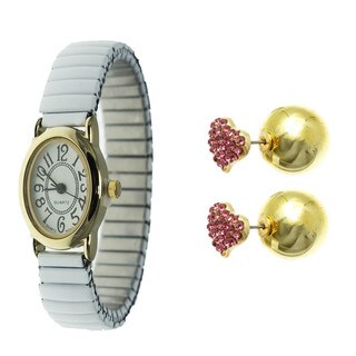 Women's Watch Set Oval Easy Read White Stretch Band Watch with Double Sided Reversible Earrings