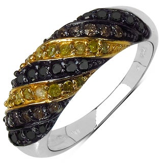 Malaika Sterling Silver 5/8ct TDW Champagne Yellow and Black Diamond Ring