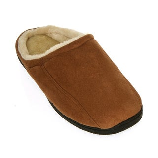 Men's Faux Suede and Fleece House Shoes