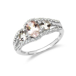 Olivia Leone Sterling Silver 1 2/5ct Morganite and White Topaz Ring