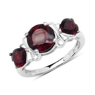 Olivia Leone Sterling Silver 2 1/2ct Garnet Ring