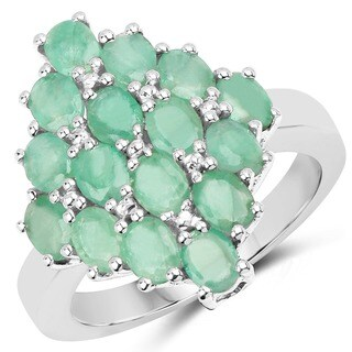 Olivia Leone Sterling Silver 2 2/5ct Emerald Ring