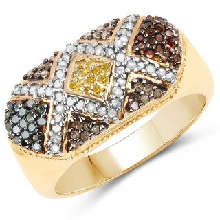 Malaika 14k Yellow Goldplated Sterling Silver 5/8ct TDW Multi-colored Diamond Ring