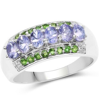 Malaika Sterling Silver 1 1/3ct Tanzanite and Chrome Diopside Ring