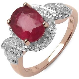 Malaika 14k Rose Goldplated Sterling Silver 2 1/2ct Ruby Ring