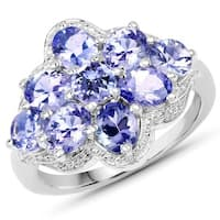 Malaika Sterling Silver 2 3/4ct Tanzanite Ring - Blue