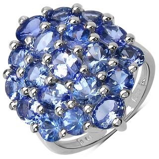 Malaika Sterling Silver 5 1/3ct Tanzanite Ring