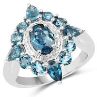Malaika Sterling Silver 3ct London Blue Topaz Ring