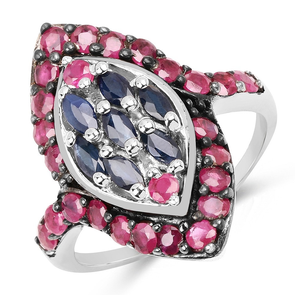 Malaika Sterling Silver 2ct Blue Sapphire and Ruby Ring (...