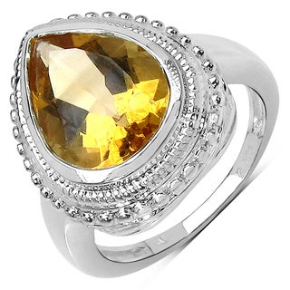 Malaika Sterling Silver 4 3/4ct Citrine Ring