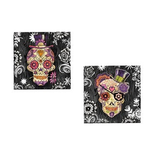 Portfolio Canvas Decor 'Sugar Skull Daisy' by Geoff Allen Gallery Wrapped Canvas (Set of 2)