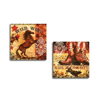 Portfolio Canvas Decor 'True West Mustang' by Geoff Allen Gallery Wrapped Canvas (Set of 2)