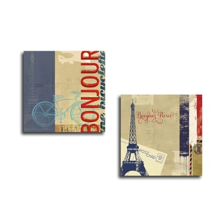 Portfolio Canvas Decor 'Bonjour Bike' by Stella Bradley Gallery Wrapped Canvas (Set of 2)
