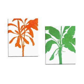 Portfolio Canvas Decor 'Silhouette Of Palm 2' by Filipo Ioco Gallery Wrapped Canvas (Set of 2)