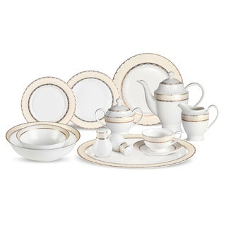 Lorren Home Trends 57-piece Margaret Bone China Dinnerware Set (Service for 8)