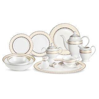 Lorren Home Trends 57-piece Margaret Bone China Dinnerware Set (Service for 8)