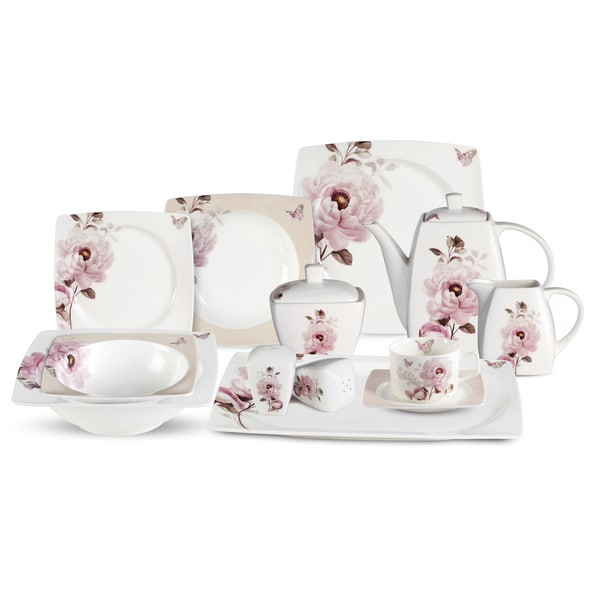 Lorren Home Trends 57-piece Sophie Bone China Dinnerware Set (Service for 8)  sc 1 st  Overstock : dinnerware set for 8 - pezcame.com