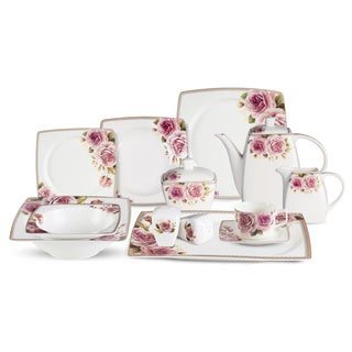 Lorren Home Trends 57-piece Loretta Bone China Dinnerware Set (Service for 8)