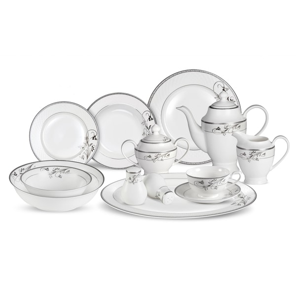Lorren Home Trends 57-piece Viola Bone China Dinnerware Set (Service for 8)  sc 1 st  Overstock.com & Lorren Home Trends 57-piece Viola Bone China Dinnerware Set (Service ...