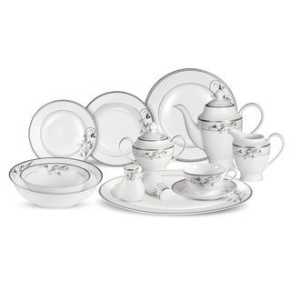 lorren home trends 57piece viola bone china dinnerware set service for 8