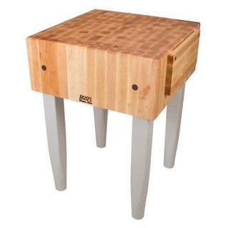 John Boos Useful Grey 24x24 Butcher Block Table PCA3 with Casters and J.A. Henckels 13-Piece Knife Set