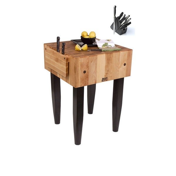 Oakland Living Indoor Black And White Ladder Back 5 Piece: Shop John Boos 30x24 Black Butcher Block Table And J.A