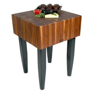 John Boos 18x18 Walnut Butcher Block Table WAL-PCA1-C With Casters And J.A. Henckels 13-piece Knife Set