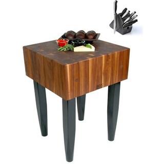 John Boos 30x24 Walnut Butcher Block Table WAL-PCA4 And J.A. Henckels 13-piece Knife Set