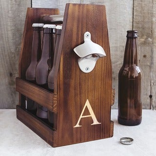 Personalized Rustic Craft Beer Carrier with Bottle Opener