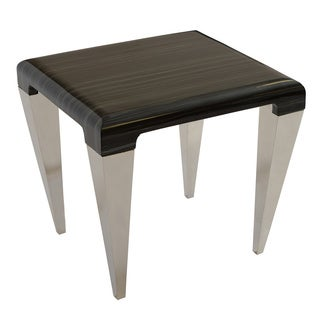 Armen Living Chow Contemporary End Table in Black Marble and Stainless Steel Finish