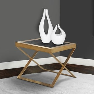 Armen Living Jasper Modern End Table In Gold With Black Wood Veneer Top