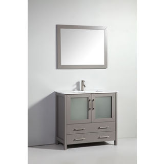 """36"""" Light Gray Solid Wood sink Vanity with Mirror No Faucet"""