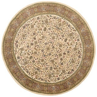 Herat Oriental Indo Hand-knotted Vegetable Dye Oushak Ivory/ Brown Wool Round Rug (9' x 9')