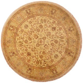 Herat Oriental Indo Hand-knotted Vegetable Dye Oushak Wool Round Rug (8'8 x 8'8)