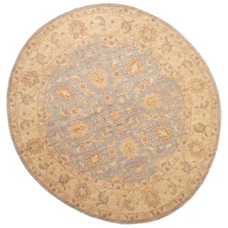 Herat Oriental Afghan Hand-knotted Vegetable Dye Oushak Light Blue/ Beige Wool Round Rug (8'9 x 8'9)