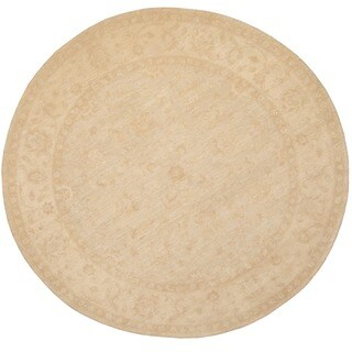 Herat Oriental Afghan Hand-knotted Vegetable Dye Oushak Light Blue/ Ivory Wool Round Rug (8'9 x 8'9)