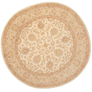 Herat Oriental Afghan Hand-knotted Vegetable Dye Oushak Ivory/ Light Green Wool Round Rug (8'10 x 8'